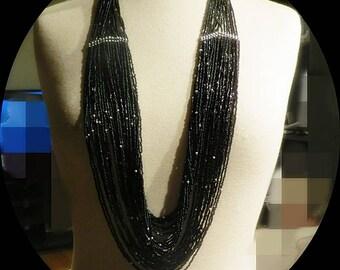 Stumming Seed Bead  Black Multi Strand Necklace # 042