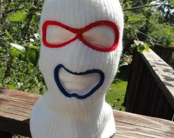 Vintage 1960's Face Ski Pullover Mask Ski Outdoor Cold Protection Multi Colored