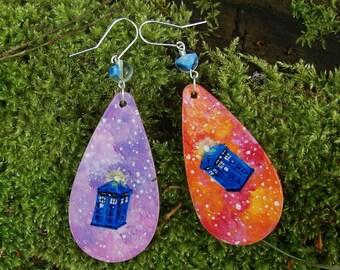 Hand Painted TARDIS Earrings