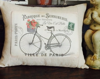 French Post Card Vintage Bicycle Throw Pillow