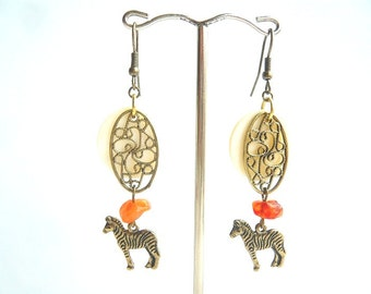 Horse Earrings / Boho Dangle Earrings / Gemstone Earrings / Gift For Her / Zebra earrings / Bohemian earrings / Long dangle earrings