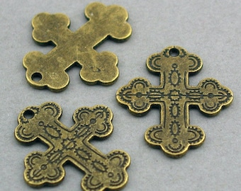 Cross Charms Antique Bronze 6pcs pendant beads 24X27mm CM0252B