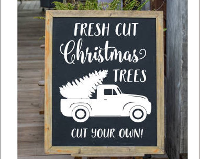 Christmas Decals Fresh Cut Christmas Trees Vintage Rustic Vinyl Decal for Christmas Holiday Decals Cut Your Own Seasonal Decor