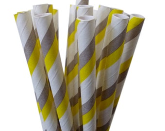 Yellow and Gray Paper Straws, 25 Striped YELLOW and GRAY Paper Straws, Cake Pops,Yellow Weddings, Yellow Baby Shower, Diy Flags