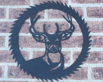 Metal Deer in Sawblade Wall Art