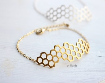 Honeycomb bracelet, Honey comb, Bee hive bracelet, Everyday bracelet, Bridesmaid bracelet, Bridesmaid jewelry, Hexagon, Geometric