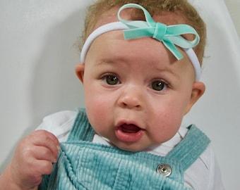 Velvet Bow Baby Headband Handmade Robin's Egg Blue