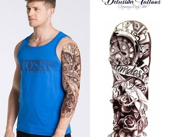 Full arm sleeve realistic temporary tattoo, timeless motif with clock face and roses design, fake tattoo sticker transfer