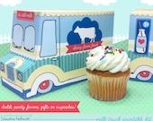 milk truck -  cookie box, cupcake holder, favor box, party centerpiece printable PDF kit - INSTANT download