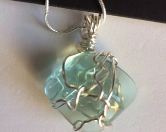Blue Obsidian Wire Wrapped Stone Pendant