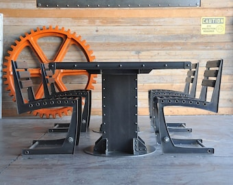 industrial inspired furniture. Vintage Industrial Dining Table And Chairs Inspired Furniture T