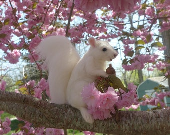 Rare White Squirrel / Wedding Cake Topper / Needle Felted Animal  by Fiber Artist GERRY / Large
