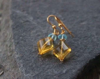 Citrine and blue Topaz Earrings,  Fine Jewelry, Holiday gift for her, briolette gemstone earrings, Large briolette, sparkly