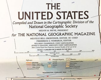 United States Classic Mural Map.  National Geographic Vintage Map.  Vintage World Map.