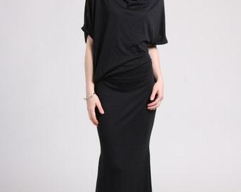 Off Shoulder Dress /  Summer  Maxi Dress / Asymmetrical Dress / Party Dress/ Mermaid Skirt / Black Maxi Dress / Dolman Sleeve/CLEARANCE