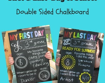 First Day & Last Day of School Double Sided Chalkboard Sign - Hand Painted Wooden Sign