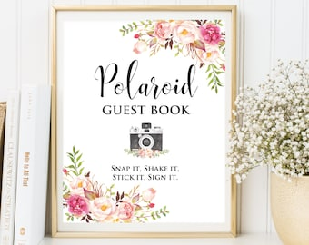 Polaroid Guest Book, Sign Photo Guest Book, Floral Wedding Photo Guestbook Sign, Guest Book Alternative,Floral  polaroid printable sign