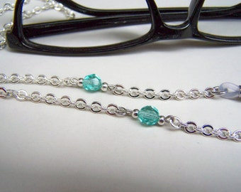Teal Crystal Chain for Glasses, Women Eyewear, 28 inches, Reader Keepers, Reading Glass Chain, Eyeglass Chain, by Eyewearglamour