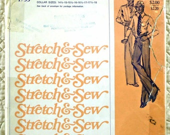 Mens Shirt, S M L XL, Stretch Sew 1755 Pattern, Ann Person, Fitted, Pointed Collar, Long Sleeves, 1975 Uncut, Size 36 38 40 42 44 46 48 50