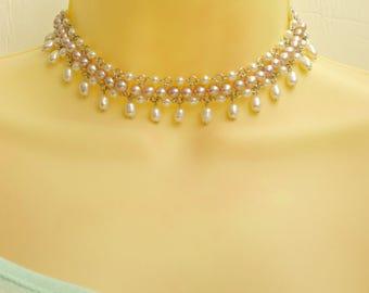 Elegant Bridal Choker Pearl Necklace, Light Peach Pearl Choker Necklace Sterling Silver, Elegant Necklace, REAL Pearls, Luxury Wedding