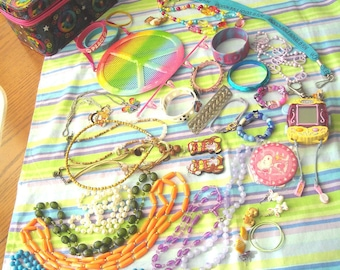"""Jewelry Hanger, Carrier & Jewelry For Play Or Craft """"PEACE"""" Theme Lot"""
