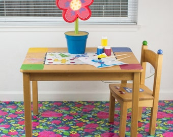 "Splat Mat/Tablecloth ""Midnight Bouquet"" - Laminated Cotton BPA  & PVC Free - Choose Your Size below!"