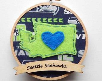 "Seattle Seahawks 4"" Embroidery Hoop Ornament"