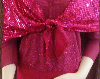 Hot Pink Jeweled Jacket/ w/Tapered Long Sleeves/ Size M ( approximate/See Measurements)