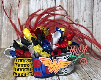 Wonder Woman - Funky Loopy Bow - Hairbow - Inspired - Red - Blue - White - Black - Yellow - Feather - Resin - Korker - Barrette - Clip