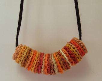 Crochet necklace Orange