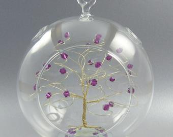 Christmas Ornament Amethyst Swarovski Crystal Elements and Gold February Crystal Christmas Ornament