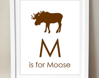 M is for Moose. 8x10 Art Print Personalized Alphabet Animal Baby Kids Nursery Decor