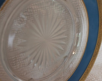 """Vintage Gold Rimmed 10.5"""" Plate with Reverse Blue Painting and Cut Glass Starburst Center"""