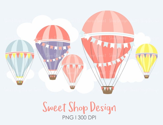 Hot air balloon clip art hot air balloon clipart planner stickers royalty free clip art instant download from sweetshopdesign on etsy studio