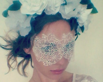 White Lace Face Mask - Masquerade Mask - Masquerade Wedding - Masquerade Ball - Boudoir Eye Mask