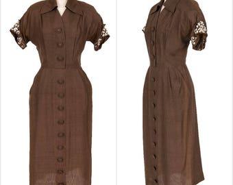 Silk 1940s Vintage Olive Beaded Shirtwaist Dress Button Up