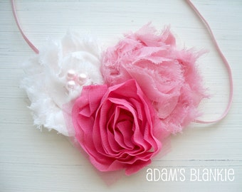 Blushing Pink and White Shabby Chic Rosettes Tulle Pearls on Skinny Stretch Headband - Baby Infant Newborn Girls Adults