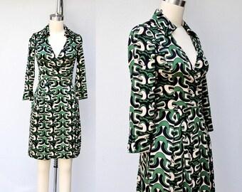 SALE Diane Von Furstenberg SILK Dress - DVF Silk Wrap Dress - Novelty Print Dress - Abstract Print Dress - Pockets Dress size 0 - XXs - Xs