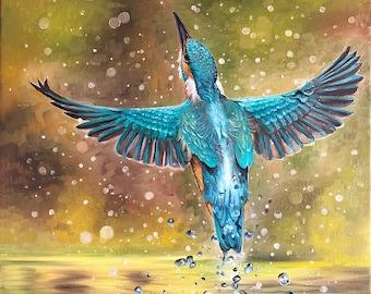 Rising Kingfisher Original Oil Painting