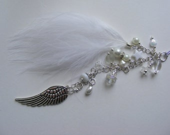 GUARDIAN ANGEL FEATHER Car Grab Handles or rear view mirror charm beaded driving test birthday gift wing