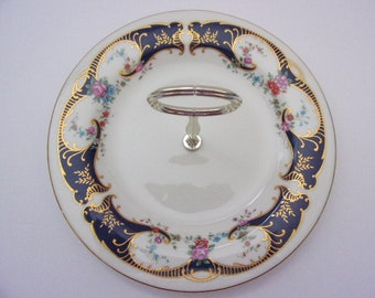 Vintage Royal Vale made in England china One Tier Cake Stand with gold handle
