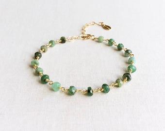 Genuine Emerald Bracelet - May Birthstone Bracelet - Birthstone Bracelet - Green Stone Bracelet - Emerald Jewelry - Gemstone Bracelet, GB5