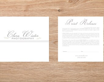 Photography Print Release Template - Photography Form Template - Photoshop Template - INSTANT DOWNLOAD