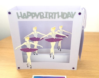 Purple and lilac 3D ballerina card for daughter, card for ballet fan, 3D ballet card for granddaughter, card for ballet dancer, dance fan