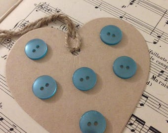 Set of 6 medium TURQUOISE buttons