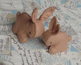 Easter Rabbit, Brown rabbit, Miniature Rabbit, Easter Bunny, 2 Bunny,  Waldorf Easter, Easter Bunny Gift, Rabbit Ornament, Miniature Bunny