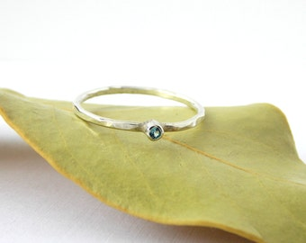 Tiny Hammered Birthstone Ring: sterling silver ring, dainty ring, tiny ring, small ring, birthstone ring, stacking ring, stackable ring
