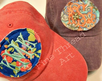 LADIES Floral Applique Monogram Baseball Cap Hat LEATHER strap Flower Floral Coral Blue Pink Summer Beach Girls Trip Vacation Pigment Dyed