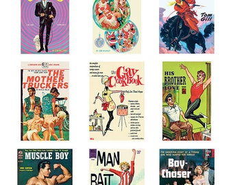 Pulp Art Stickers Theme 'Best of 9' Set - GAY