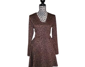 Kuwaha Zebra Animal Print Peplum Long Sleeved Knit Dress; Brown & Black
